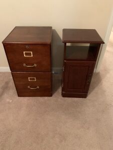 WOODEN FILE CABINET AND SIDE TABLE