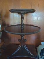 ANTIQUE ROUND 2 TIER TABLE