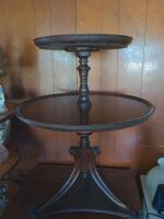 ANTIQUE ROUND 2 TIER TABLE - 4