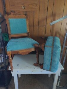 VICTORIAN EASTLAKE CHAIR AND OTTOMAN