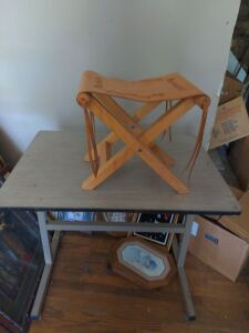 TABLE AND FOLDING STOOL