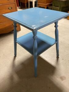 BLUE PAINTED SOLID WOOD SIDE TABLE