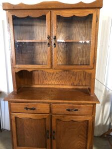 SOLID WOOD KITCHEN CABINET WITH UPPER GLASS DOORS AND LOWER DRAWERS