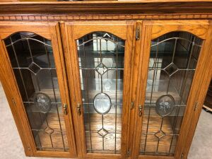 CHINA DISPLAY CABINET WITH LEADED GLASS DOORS  - TOP PORTION ONLY