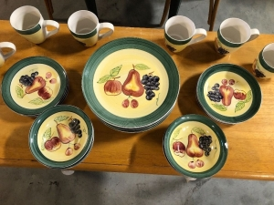 GROUP OF (24) EHI FRUIT THEME DISHWARE
