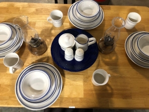 "NICE ASSORTMENT OF ""LYNNS"" STONEWARE DISHWARE AND TWO OIL LAMPS (27)"