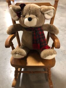 CHILDRENS WOOD ROCKING CHAIR AND PLUSH KOALA BEAR (2)