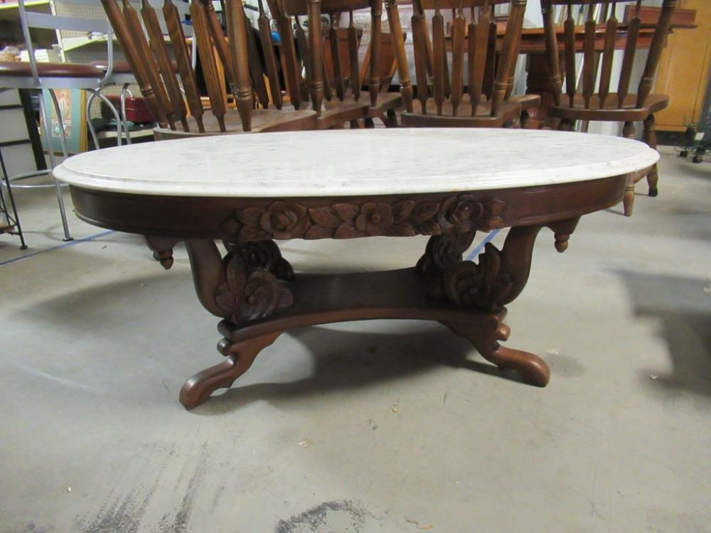 Lot 11 Of 444 Antique Marble Top Coffee Table
