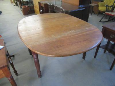 ANTIQUE OAK DROP-LEAF DINING TABLE WITH LEAVES